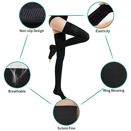 Women's Thigh High Open Toe Compression Stockings, Firm Support 20-30 mmHg Medical Gradient Toeless Thigh High Compression Socks with Non-slip Silicone Band (Black, X-Large) by SWOLF (Image #4)