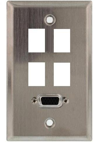 Hd15 Wall Plate - Stainless Steel Wall Plate with VGA (HD15) Connector Plus Four Keystone Ports; 75-745