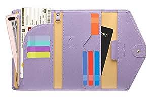 Zoppen Multi-Purpose RFID Blocking Travel Passport Wallet (Ver.4) Tri-fold Document Organizer Holder, 10 Lavender (Purple) - TG001