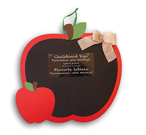 Hanging Decorative Apple Themed Chalkboard with Burlap Embellishment - 12.75 by Retail