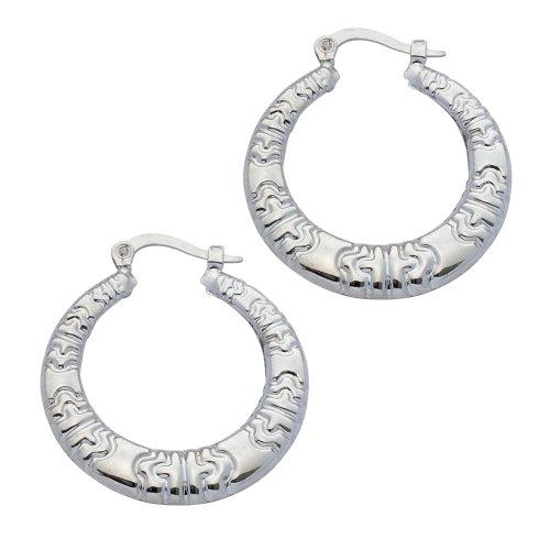 Boucles d'Oreilles Créoles Femme - E-10470 - Or blanc (9 cts) 2 Gr