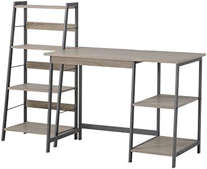 HOMESTAR 2 Piece Laptop Desk 4-Shelf Bookcase Set, 43 x 23.6 x 47 20 x 14 x 44 , Reclaimed Wood