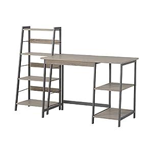 HOMESTAR 2 Piece Laptop Desk & 4-Shelf Bookcase Set, 43″ x 23.6″ x 47″/20″ x 14″ x 44″, Reclaimed Wood