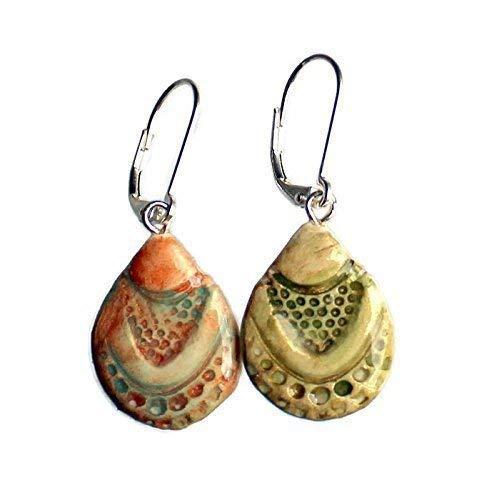 (Ceramic Teardrop Earrings - Bohemian Gypsy - Koi Fish Scales and Brown Sea Turtle - CONVERTIBLE 2 looks in 1 pair! )