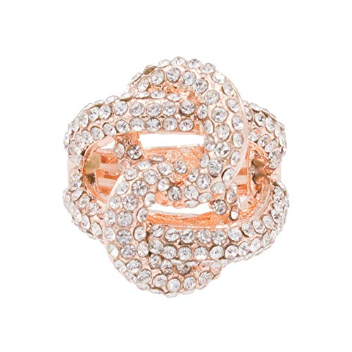 Lavencious 2 Circles Linked Design with Crystals Stretch Rings Statement Rings Free Size for Women (Rose Gold)