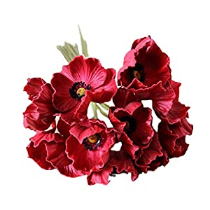 10 Stems Artificial Poppies Real Touch PU Fake Latex Flowers for Wedding Holiday Bridal Bouquet Home Party Decor (Red) 24
