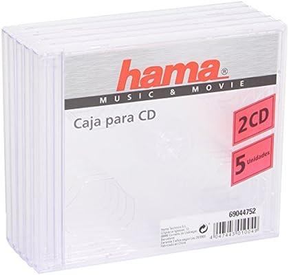 Hama 044752 - Caja para 2 CDs, 5 Unidades, Color Transparente ...