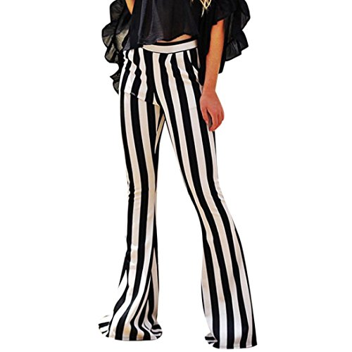 High Waist Stretch Vertical Striped Long Bottoms Pants for Womens Bell Flared Trousers (XL, Black)