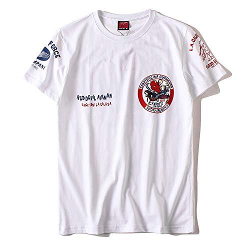 HA73 Men's T-Shirt Short Sleeve Red Devil Airman Pattern 100% Cotton Breathable Super Soft & Lightweight Sweatshirt Multiple Size,White,XXXXL