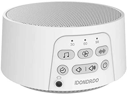 IDONDRDO White Noise Machine – Portable Sleep Therapy – 24 Soothing High Fidelity Non-Looping Nature, Ocean & Fan Sounds - Electronic Sleeping & Relaxation Aid – for Baby, Home, Office & Travel