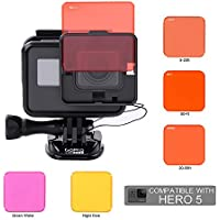 Koroao Diving Lens Filter Set for Gopro Hero 5 Nake Camera, Switchable Filter with frame and tether for Gopro Hero 5 ONLY