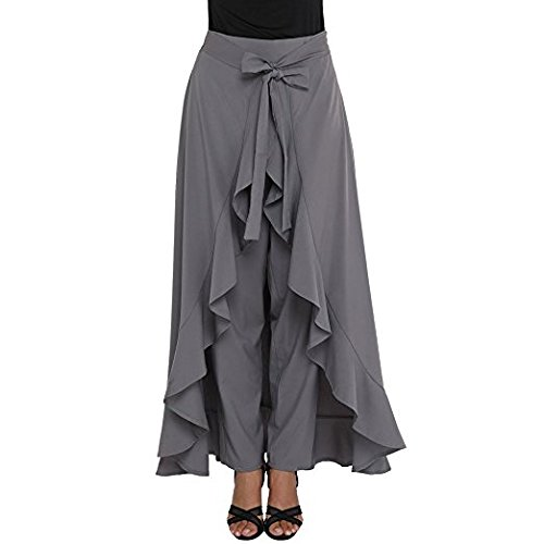 fe943d4152 Kizu Enterprise Women s Crepe Silk High Waist Long Maxi-Skirt Pants  (Grey Free Size)  Amazon.in  Clothing   Accessories