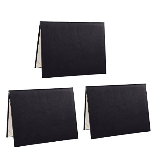 (Diploma Cover - 3-Pack Certificate Holder, Document Cover for Letter-Sized Award Certificate, 4 Corner Ribbons, Black Faux Leather, 11.5 x 9 inches)