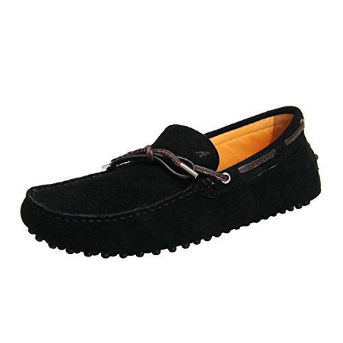 Borlas Negro Mocasines 2 para Gamuza Primavera Zapatos Hombre Cuero de Verano D7151 con Shenduo de Moda Hombre aZwAW1qwz