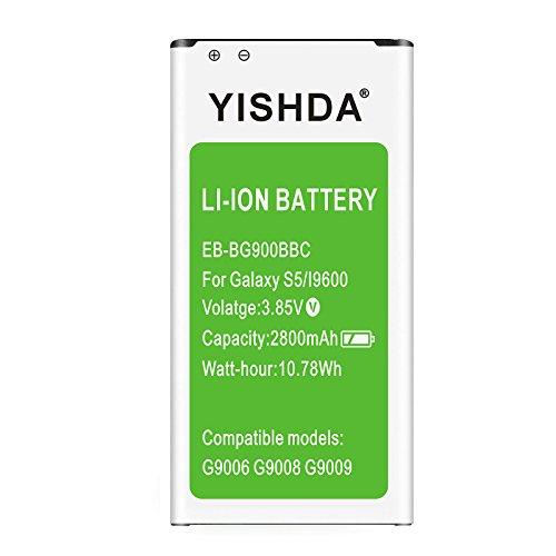 YISHDA Galaxy S5 Battery, 2800mAh Li-ion Samsung Galaxy S5 Battery for Galaxy S5 Active I9600 G900F G900V G900T G900A G900P | Samsung S5 Battery Replacement [18 Month Warranty]