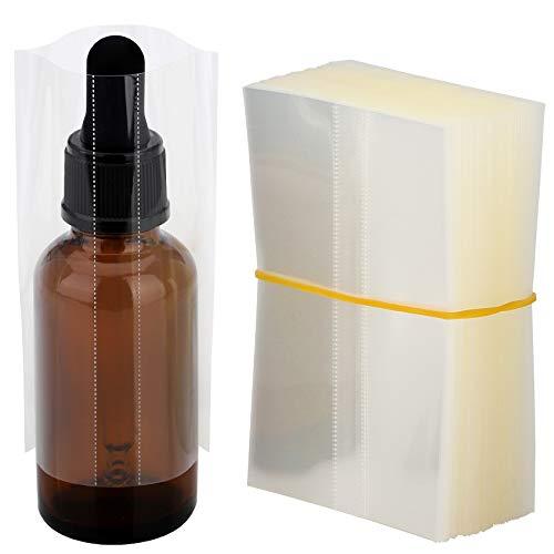 MORIDA 1oz Glass Bottle Shrink Bands 200 pcs Clear PVC Heat Shrink Wrap Sealer for 30 ml Bottles