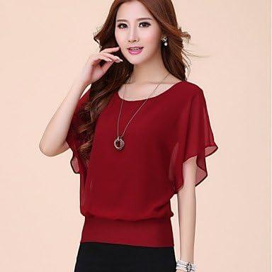Mujer Camisas y blusas de mujer Solid Azul/Rojo/Negro/Morado – Camiseta de manga corta, con cuello redondo de manga corta para, color Rojo - rojo, tamaño M: Amazon.es: Deportes y aire libre