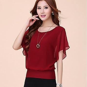 Mujer Camisas y blusas de mujer Solid Azul/Rojo/Negro/Morado – Camiseta