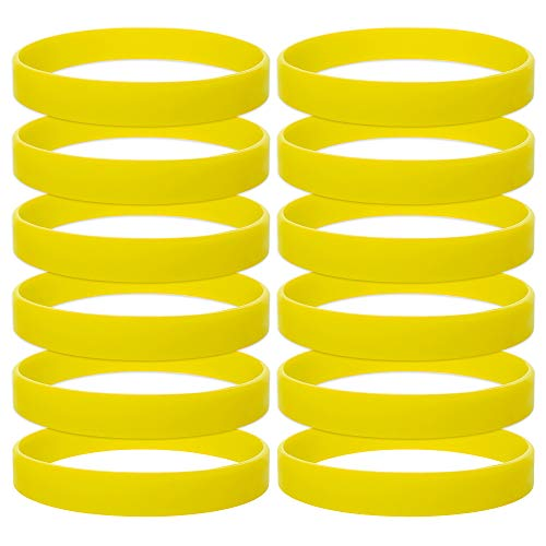 (GOGO 120PCS Rubber Bracelets for Kids Silicone Rubber Wrist Bands for Events Party Favors - Yellow)
