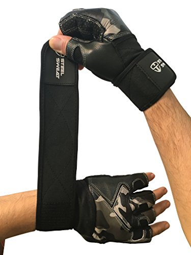Steel Sweat Weightlifting Gloves with 18-inch Wrist Wrap Support for Workout