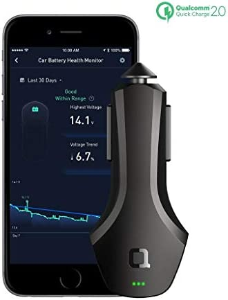 nonda ZUS Smart Car Charger Quick Charge 36W, Monitor Car Battery and Find Your Car, 2 Reversible USB Ports and Led for iPhone XS Max XR X 8 7 6 Plus