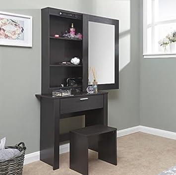 Large Dressing Table Sliding Storage Mirror Glass Set Black Bedroom  Furniture Modern Vanity Wooden Makeup Girls