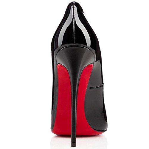 Cuir Shofoo Talon Bout Chaussures Pointu Femme Noir Brillant Aiguille Stiletto Synthétique TArqIA5n