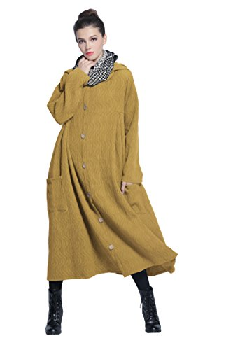 Anysize Hooded Ripple Jacquard Weave Linen Cotton Dress Spring Fall Winter Plus Size Clothing Y216