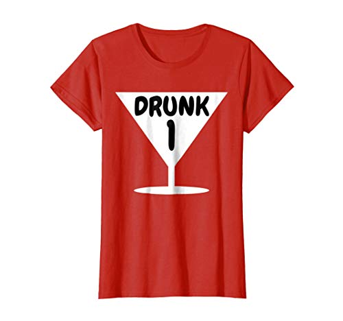 Womens Funny Drunk 1 Party Thing Halloween Costume T-shirt Medium Red -