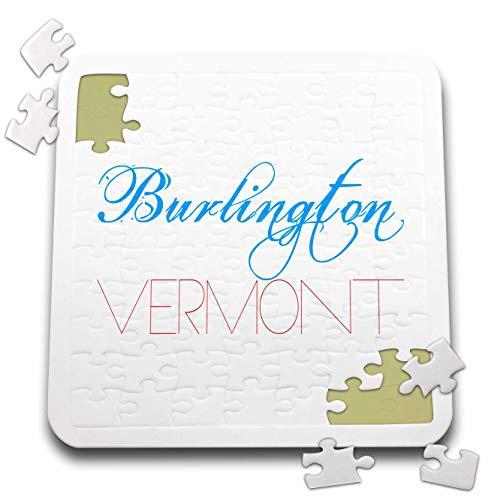 3dRose Alexis Design - American Cities - Burlington, Vermont Patriotic, Decorative, Blue, red Text on White - 10x10 Inch Puzzle (pzl_294808_2) -