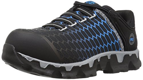 Timberland PRO Women's Powertrain Sport Slip On Alloy Toe SD+ Industrial and Construction Shoe, Black Ripstop Nylon With Blue, 7 W US