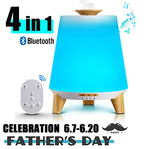 Flysight Bluetooth Speaker Essential Oil Diffuser Humidifier 300mL,2019 Upgrade Cool Mist Music Aromatherapy Humidifier for Babies Kids,Ultrasonic Aroma Diffuser Portable for Home Bedroom Office