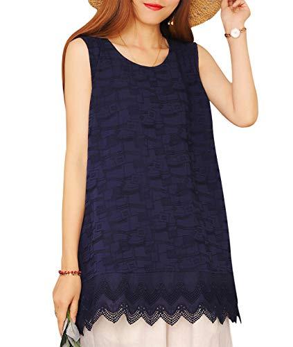 - YESNO Women Casual Lace Hem Jacquard Blouse Vest Loose Summer Tank Tops YP4