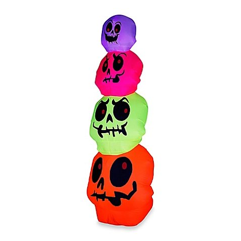 Inflatable Halloween Outdoor Neon Skulls Stack (Cheap Halloween Coffins For Sale)