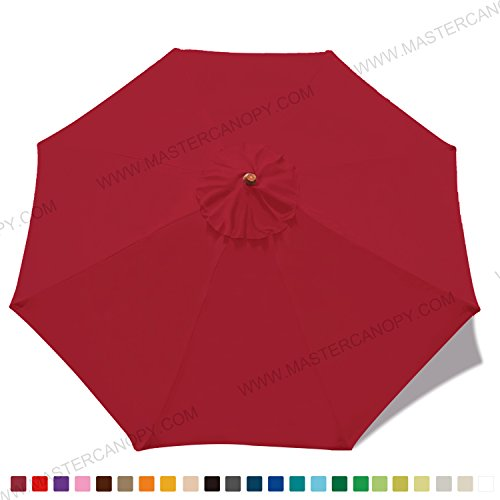 MasterCanopy (30+ Colors) 9ft Market Round Umbrella Adjustment Replacement Canopy 8 Ribs(Canopy Only) (Burgundy)