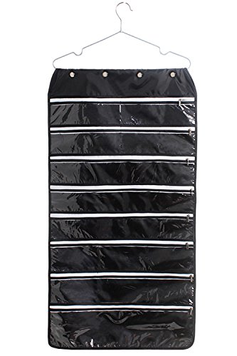 MOT Global Hanging Jewelry Organizer Holder Bag Double Sided Storage 56 Pockets with Zipper (Hanger Included)