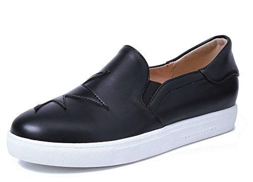 Amoonyfashion Mujeres Solid Pu Low-heels Round-toe Pumps-Zapatos Negro