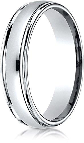 Benchmark 14k White Gold 4mm Comfort-Fit High Polished Carved Design Band, Size (Benchmark 14k White Gold Band)