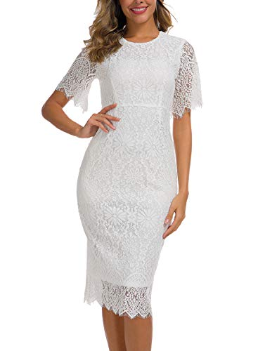 - Elegant Eyelash Lace Dress for Women Petite Casual Short Sleeves Ladies Business Wear to Work Homecoming Sheath Skirts Wedding Party Dresses 931 (L, White)