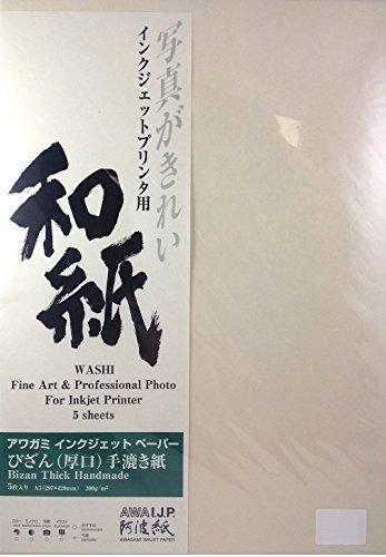 Awagami Bizan Thick Handmade Fine Art Inkjet Paper, 300gsm A3 (12.95'' x 19.02'') 5 Sheets by Awagami