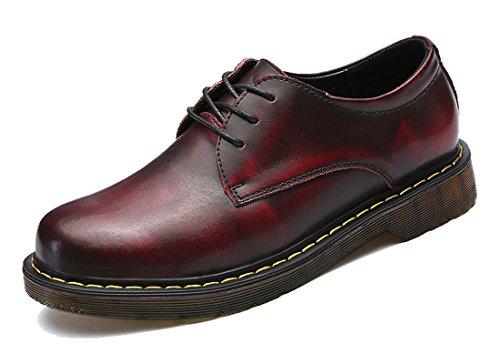 Tda Hombres Suela De Goma Con Cordones Mocasines De Cuero Cerrado Puntada Costura Low Top Zapatos Casuales Vino Rojo