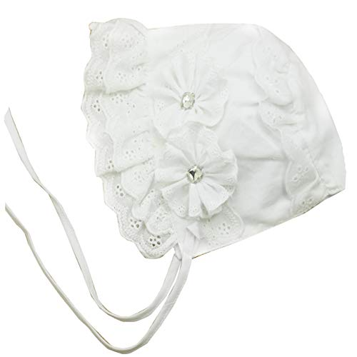 (Sun Bonnet for Baby Bonnets 0-6 Months Infant Bow Vintage Hats Newborn Sun Cap (E-White lace Cotton Bonnet, 3-6 Months) )