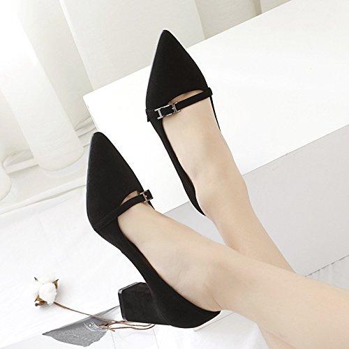 ZHZNVX Durante la primavera y el otoño nuevo bold con los zapatos de tacón alto de satén hebilla ranurado luz hechizo de la punta de la boquilla color de alta Heel Shoes singles femeninos zapatos black