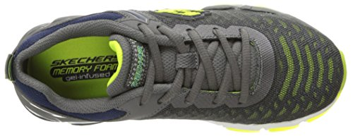 Skechers Kids Boys Air 3.0-Downplay Sneaker, Charcoal/Lime, 12.5 M US Little Kid