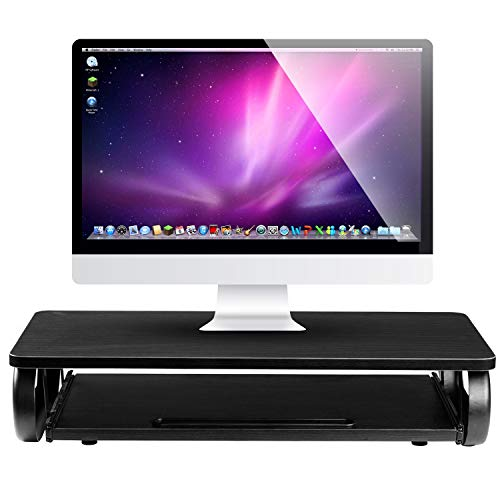(Executive Monitor Stand Computer Riser with Mouse & Keyboard Tray - Home & Office Desk Shelf Organizer for Laptop, Computer, TV - (Black))