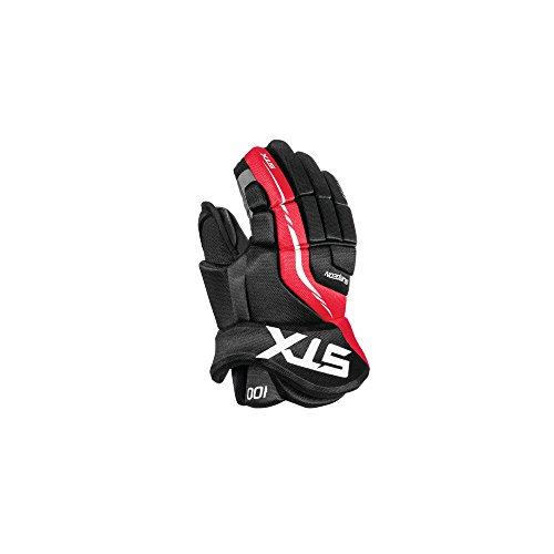 STX Ice Hockey Surgeon 100 Junior Gloves, Black/Red, 12