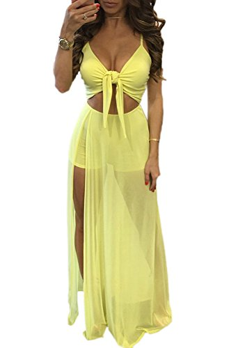 Mojessy Womens Spaghetti Strap Knot Front Mesh Patchwork See Through Sexy Dress, Small, Yellow