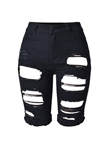 iRachel Women High Waist Capri Jeans Sexy Denim Destroyed Ripped Hole Midi - Uk Tracking Epacket