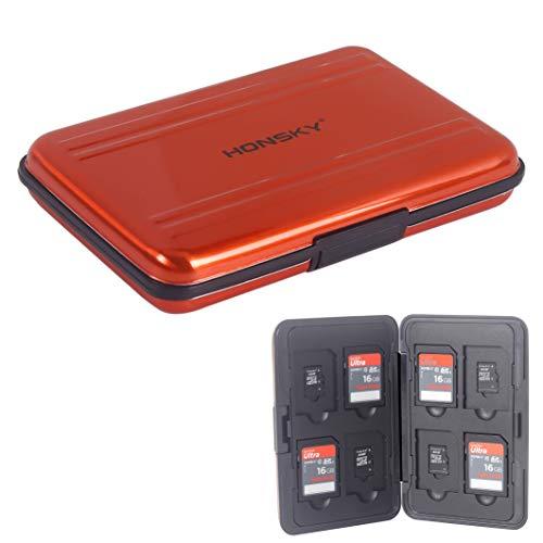 SD Card Case, Aluminum Memory Card Holder, Memory Card Case Organizer Storage for SD Cards, Micro SD Cards, SDHC SDXC TF UHS-I, Orange