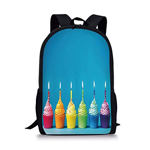 School Bags Birthday Decorations,Cupcakes in Rainbow Colors with Candles Fun Homemade Party Food Sweet,Multicolor for Boys&Girls Mens Sport Daypack -